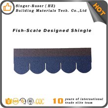 Low price roofing material blue round asphalt shingles roof tile and slate in Chile