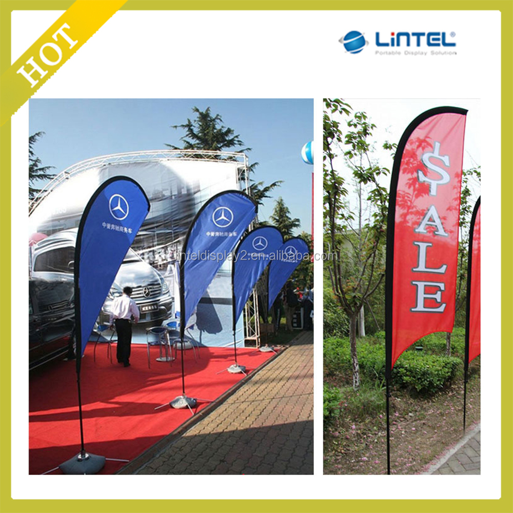 3.5m/4.5m/5.5m outdoor advertising beach flag with alu and glass fiber material flag pole