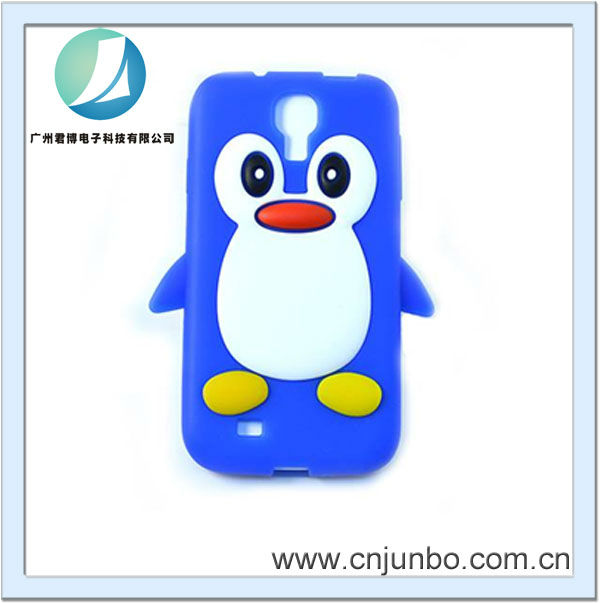 hot sale penguins silicon mobile phone case for sumsang S4 i9500