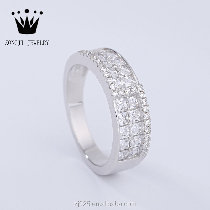 925 Sterling Silver Rhodium Plated Finger Rings With <strong>Diamond</strong> Adjustable Size For Men Women Unisex