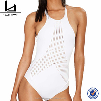 2016 sexy one piece hole cut scoop laced back bathing suits women swimwear