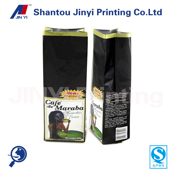 Back sealed printed coffee packaging bags