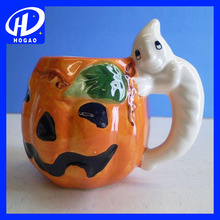 Cheap 3d pumpkin ceramic mug for halloween,ceramic coffee mug