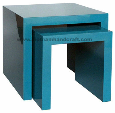 Eco-friendly handpainted vietnamese bamboo lacquer table in solid blue