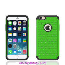 Popular high quality USA best selling shockproof green pc and silicon case for iphone 6s plus case cover diamond bling