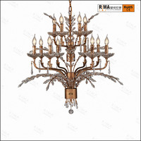 2017 New design antique brass luxury chandelier Light with home decorative crystal chandeliers