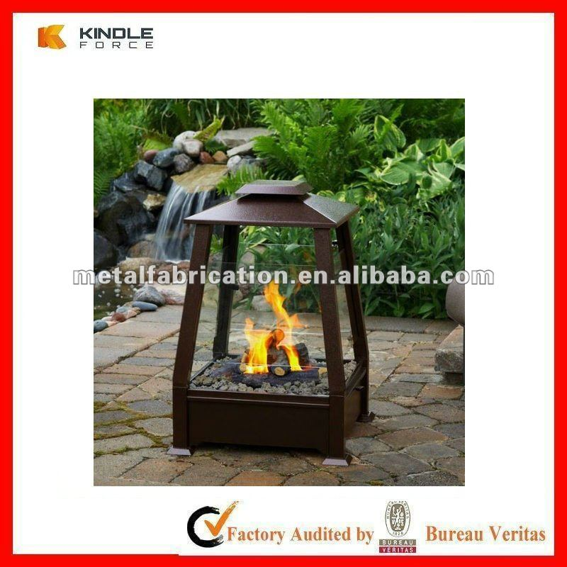 free standing cold rolled steel real flame gel fuel outdoor fireplace