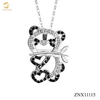 Custom jewelry wholesale panda eating bamboo pendant 925 sterling silver necklace for baby