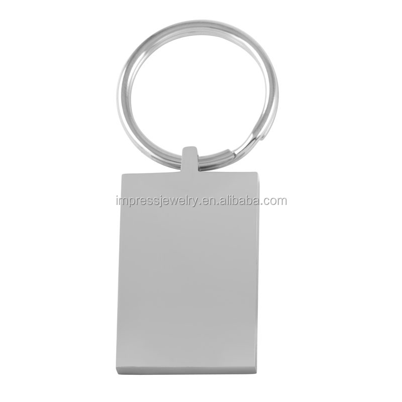 IJK0036 Engraved High Polished Blank 37mm*25mm*5mm Rectangle stainless steel keychain
