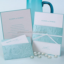 Top Quality Flower Emboss Mint Green Wedding Invitations with RSVP Card