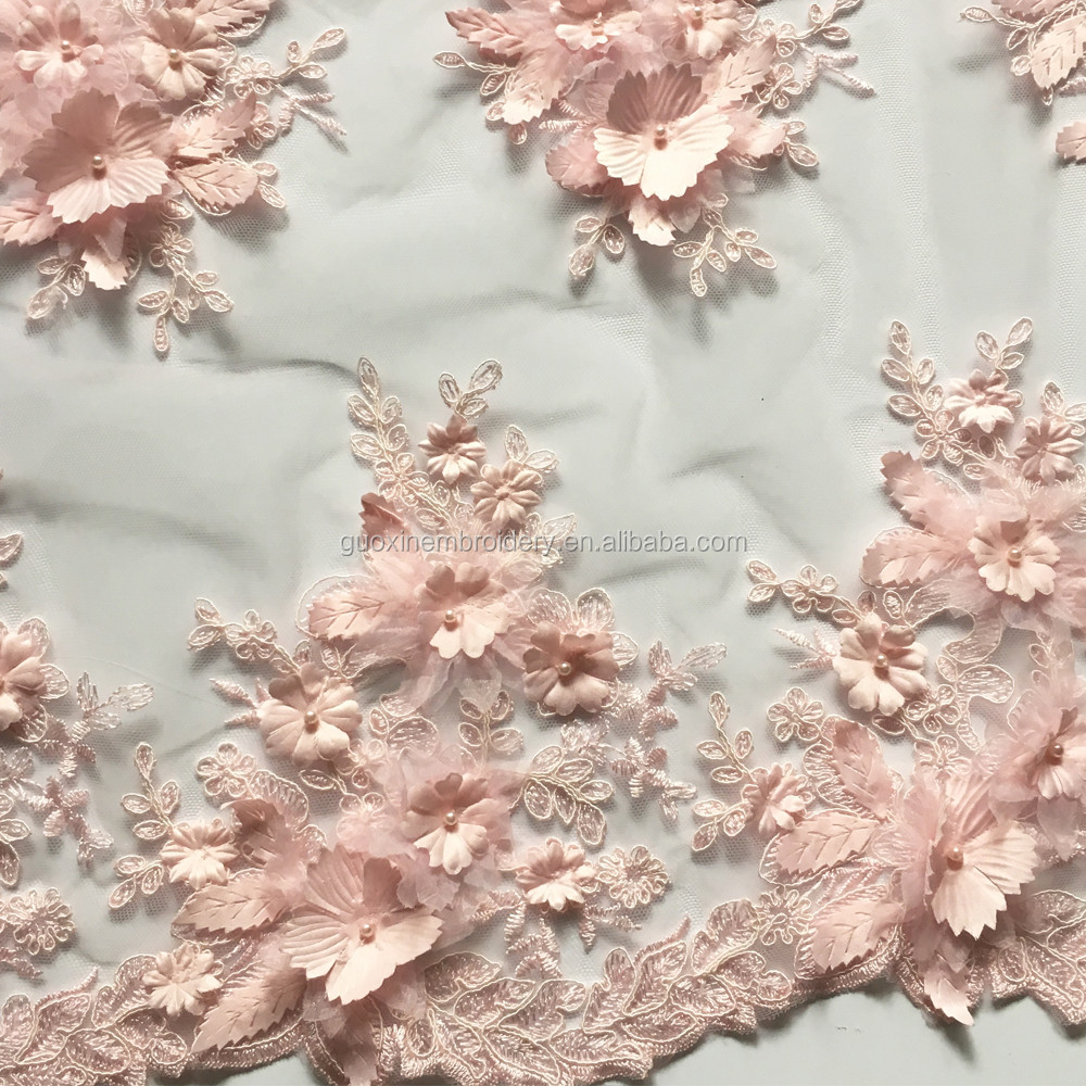 3D lace fabric beaded tulle lace item GX276 wholesale price with good quality lace fabric african for wedding