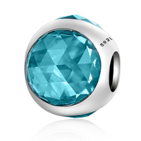 Taidian Round Shape Blue Zircon charm beads 925 Sterling Silver Glass Beads Fit Original Bracelet European DIY Jewelry