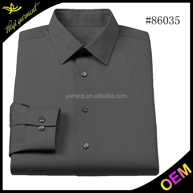 High quality pure black brand name men dress shirts