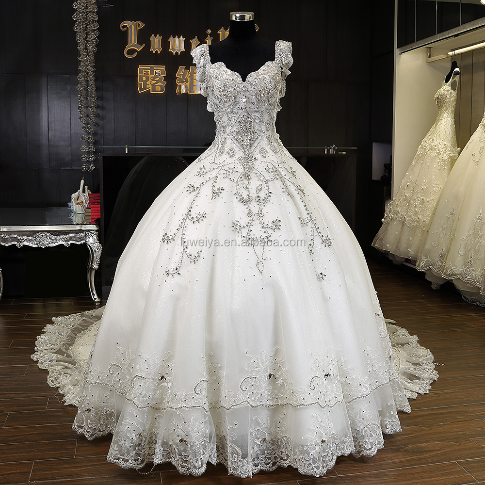 2016 luweiya luxury crystal ball gown wedding dress in for Where to get wedding dresses