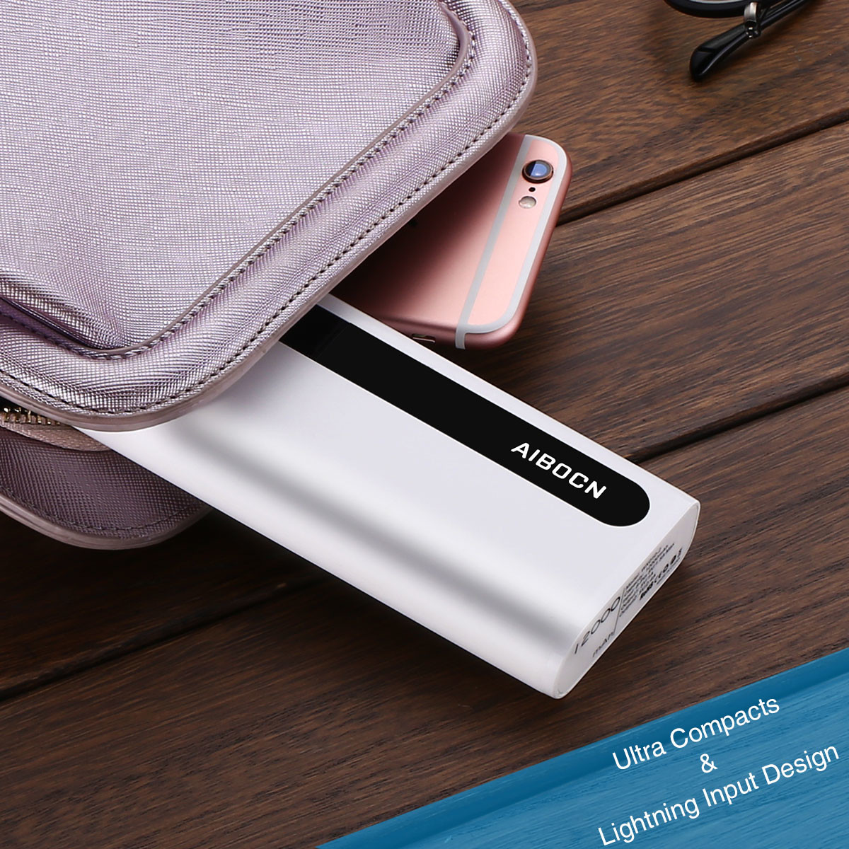 High quality 18650 Lithium Battery External Charger 12000mAh Portable Power Bank