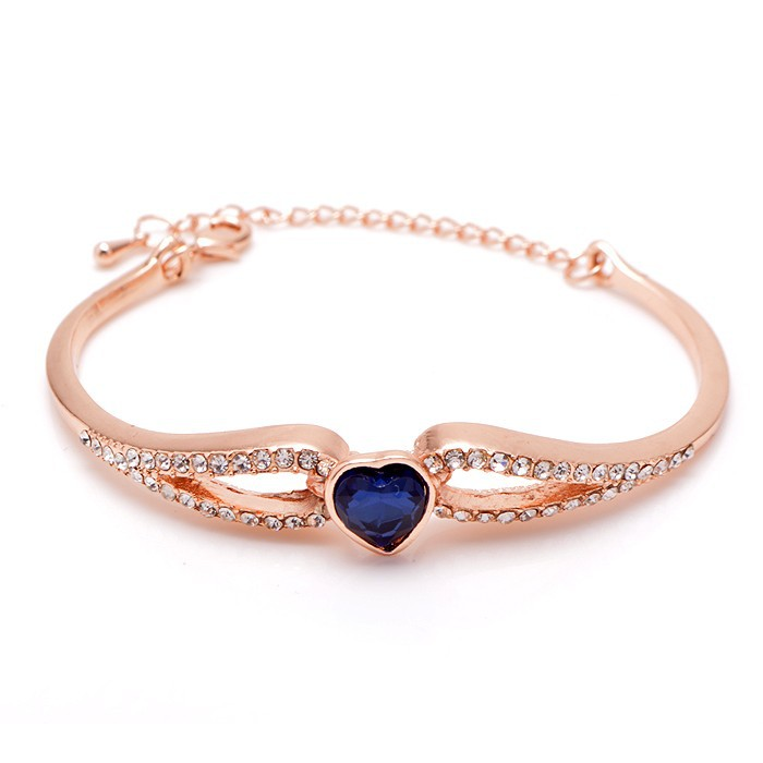 2015 Austrian Crystal Heart Rose Gold And Platinum Plated Cuff Bracelets Bangles