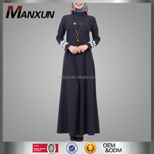 Fashion Baju Muslim Abaya Stand Collar Muslim Dress Blue Gray Islamic Wholesale Abaya