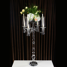 tall wedding crystal candelabras/candlesticks with a flower bowl wedding centerpieces on sale