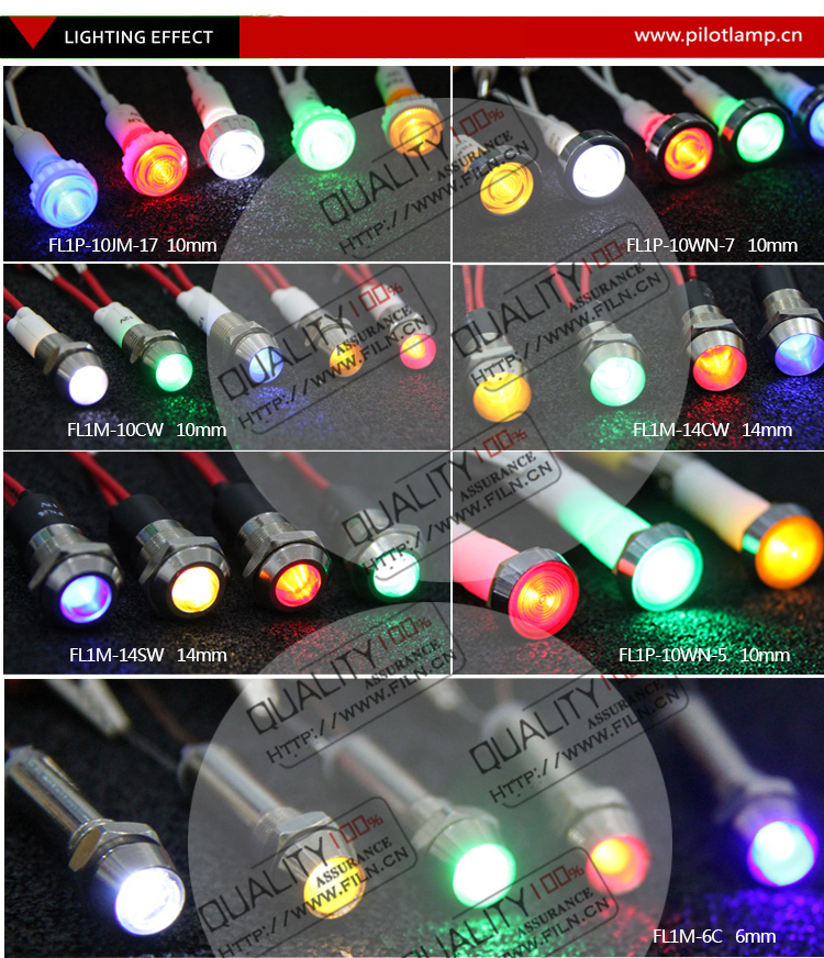 FILN 12mm Metal yellow red ,blue,green 6v 12v 24v indicator Led pilot light with wire