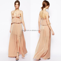 Factory wholesale maxi silt peplum pink porm dress