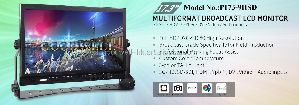 "China Manufacturer High Quality Desktop 17.3"" Broadcasting HD-SDI Monitor for Film Shooting with Bracket"