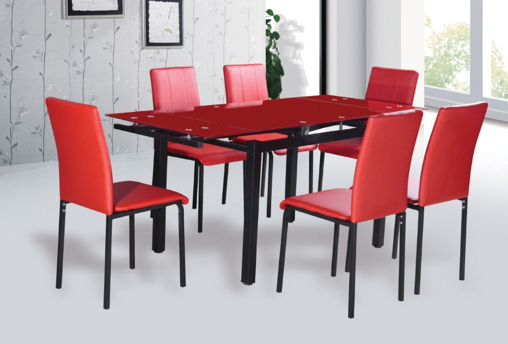 Modern extendable tempered glass dining table buy glass for Tempered glass dining table
