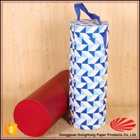 Round tube fancy wine bottle gift bags with lid and handles