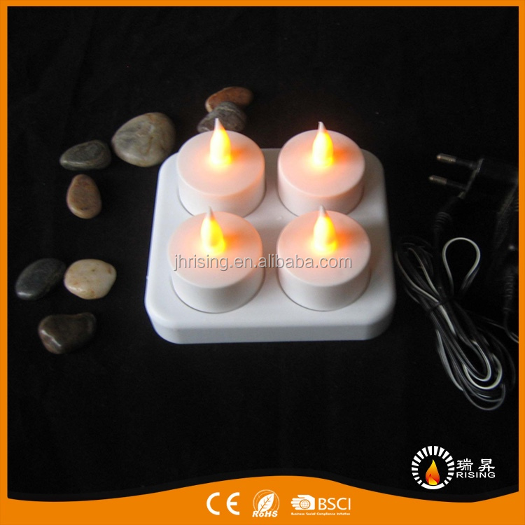 Plastic CE 4 Tiny Tea Light Candles Rechargeable Party/Home/Bar/Table Decoration