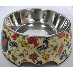 Customized logo print large melamine pet drinking bowl