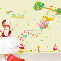 Soft home used creative beautiful swing girl wall art stickers decor for bedroom