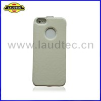 White Slim Genuine Leather Flip Case for iphone 5,Pouch Cover--High quality-Laudtec