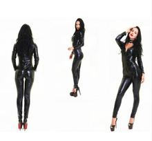 bodycon dress Black PVC Leather sey leather onesie costumes Zipped Shiny wet look catsuit with V-neck