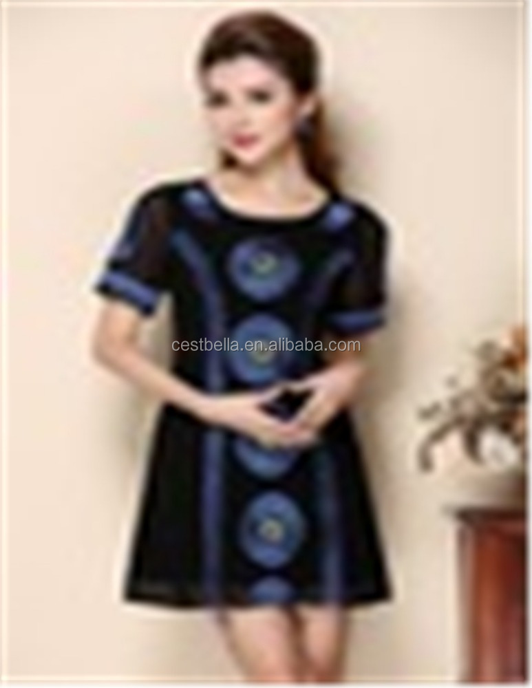 Polyester silk Embroidered and printed dresses wholesale