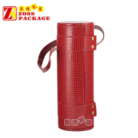 Single Red Leather round tube wine gift box