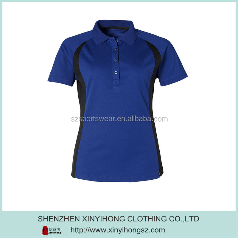 Ladies Royal blue color Performance Dry fit golf polo shirts /polo shirt uniforms