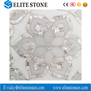 Good Quality Flower Design Marble Waterjet Tile Thassos White Shell Mosaic