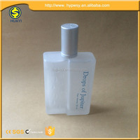 Square 100ml perfume frosted glass bottle with atomizer