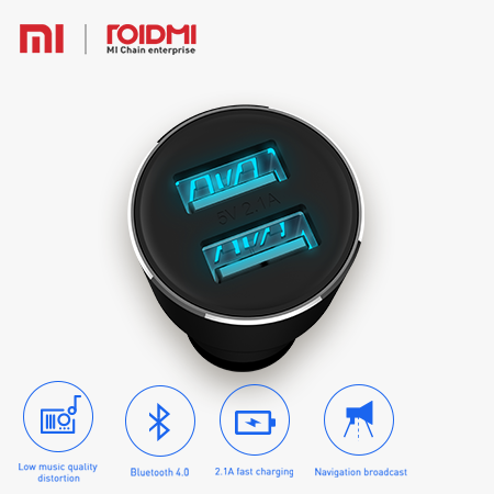 Xiaomi 5V 3.8A Roidmi 2s FM transmitter Bluetooth/Android 4.2 Smart Car Charger Compatible for Andriod and iOS phone with CE FCC