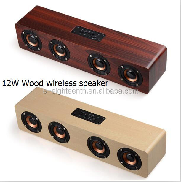 new products 4 horns big Volume Audio 3D Stereo Hifi Super Bass Bluetooth Speaker handsfree Wood Wireless Speaker for Party