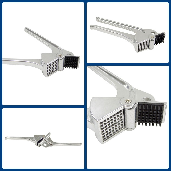 Double-side feature self cleaning poly teeth design aluminum manual Garlic Press Crusher