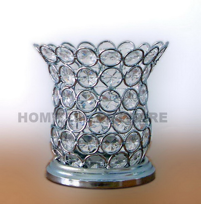 Beaded candle holder, bling candle holder