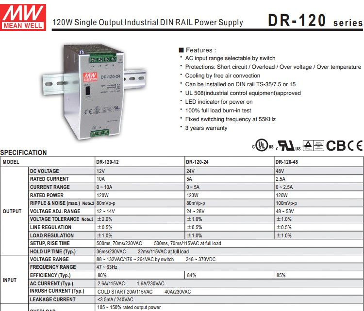Mean well DR-120-12 12v 10a Power Supply rail 120w 12v 10a DIN Rail power supply