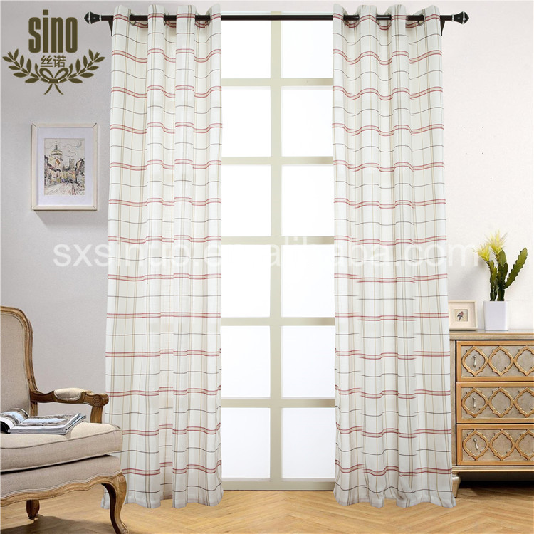 Eyelet Curtain Drapery Plaid new voile curtains