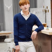 Autumn/Spring good quality fashion casual slim fit v neck custom knitted 100% cotton mens cardigan sweater direct factory