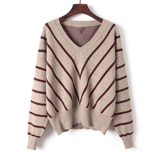 Stock top brand jumper full body stripe sweater woman v-neck and long sleeves