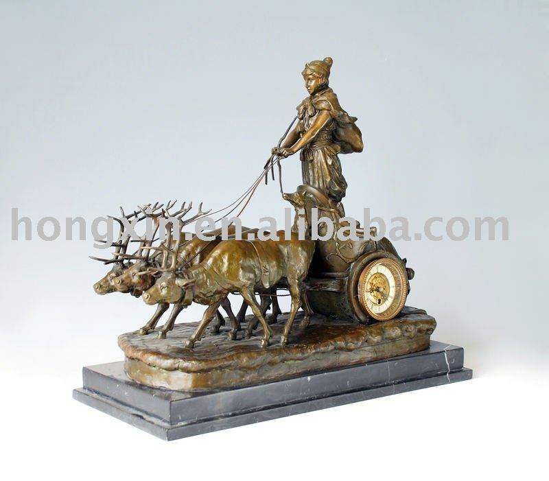 HXC-035 bronze table clock antique clock mechanical metal clock
