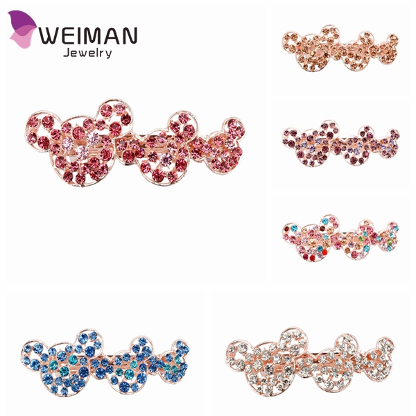 Rhinestone Cute Cartoon Barrette Crystal Hair Clips for Women Girls Hair Accessories 2016