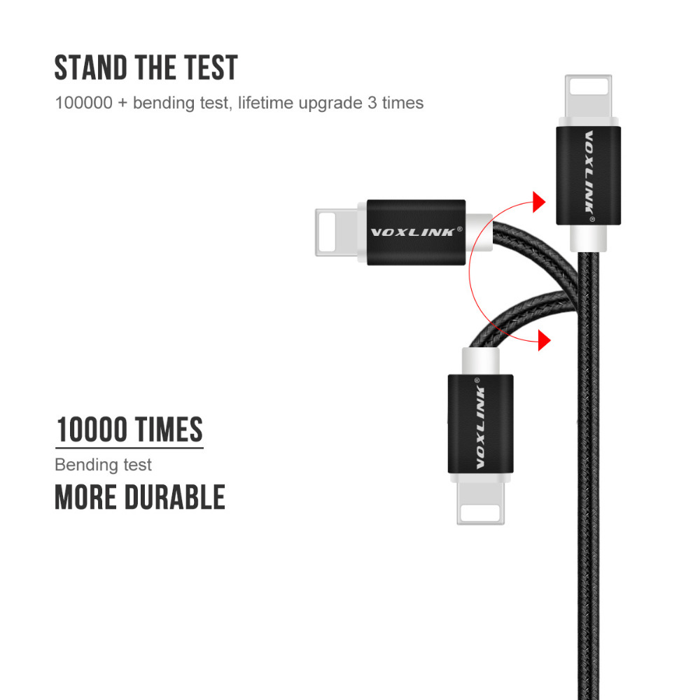 5 Pack USB to Lightning Cables,VOXLINK Nylon 8pin USB Charging Data Cables For iPhone X 8 8plus 7 7plus 6s plus 5s iPad Air/mini