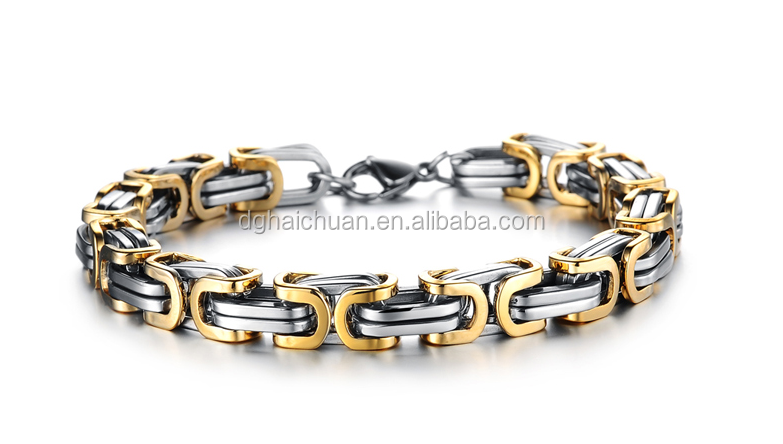 Professional Stainless steel jewelry manufacturer 316 stainless steel byzantine chain bracelet