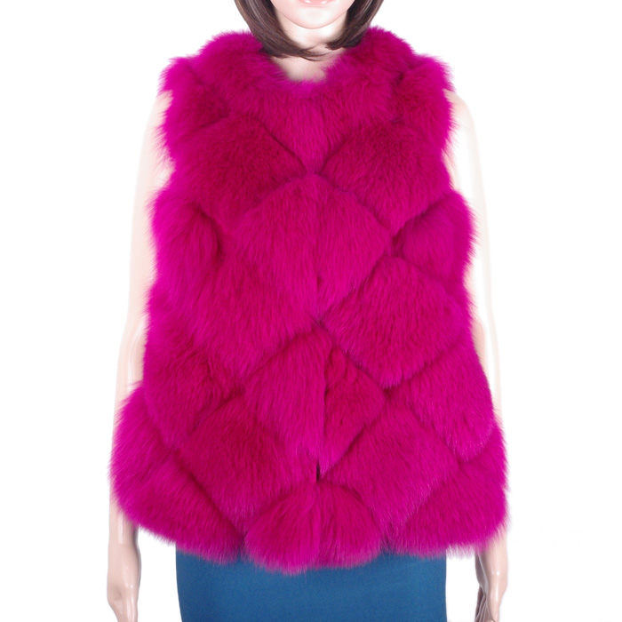 Winter New Fox Fur Vest Women Elegant Real Full Pelt Fox Fur Gilet KZ150142